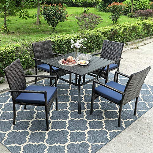 "PHI VILLA Patio Dining Sets Includes 37"" Square Metal Bistro Table with 1.57"" Umbrella Hole and 4 Rattan Garden Chairs, 5-Piece Black"