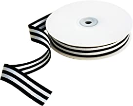 Black and White Taffy Striped Grosgrain Ribbon 3/4 Inch Wide 25 Yards Black Striped Ribbon for Thanksgiving Craft Supplies Trim Embellishments Gifts Wrap Party Ribbon Decoration Hair Bow