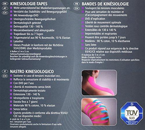 SENSIPLAST® 4 Rollen Kinesiologie-Tapes 5 m x 5 cm + Anwendungs-DVD - 5