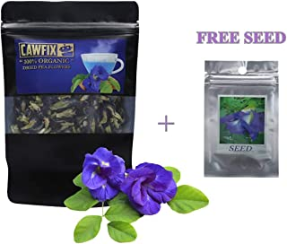 CAWFIX Thai Organic Dried Butterfly Pea Flowers – Multipurpose Clitoria Ternatea Loose Herbal Tea Leaves In 50g Airtight Ziplock Bag – No Pesticides – For Beverages, Cocktails, Baking – Seeds Included