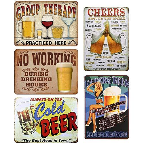 LZYMSZ 5 Pezzi Targa in Metallo Vintage Poster con Placca Murale, Decorazioni Murali in Ferro retrò per caffè Bar Pub Birra (30X20 CM)