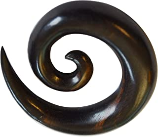 CHICNET Piercing a spirale per uomo e donna, in legno di ebano, 8 mm o 10 mm