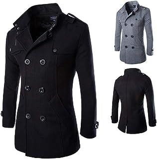 Cappotto Corto da Uomo Regular Fit Cappotto in Tweed Taglie Comode Doppiopetto Regular Warm Giacca Invernale Nera Moda Uom...