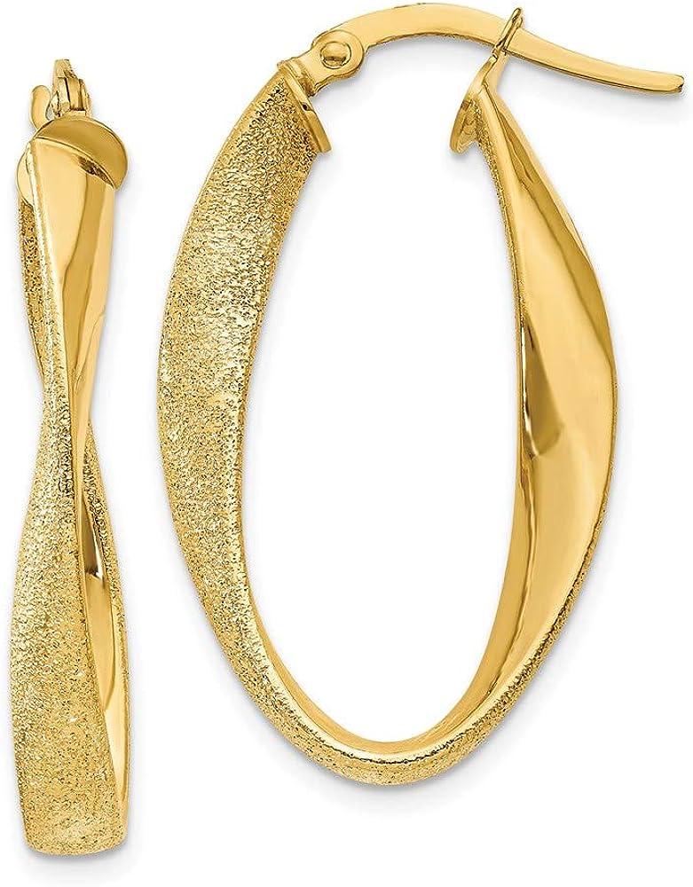 14k Yellow Gold Oval Twist Hoop Earrings Ear Hoops Set Fine Jewelry For Women Gifts For Her