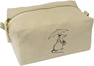 'Rat with Umbrella' Canvas Wash Bag / Makeup Case (CS00018418)