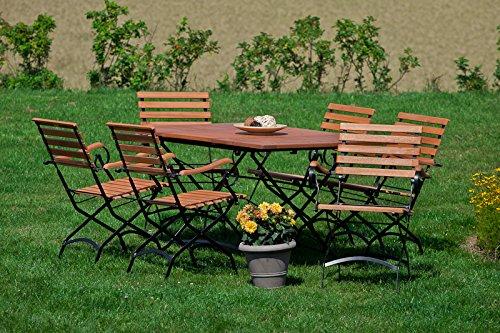 MERXX 7tlg. Schlossgarten Set, 6 Klappsessel, 1 Klappausziehtisch, 100 (150) x 90 cm