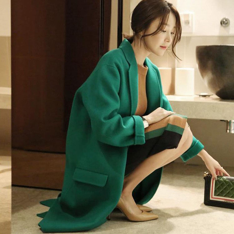 DEED Women's CoatAutumn and Winter Women 'S Jacket is Thin Loose Loose Long Cocoon Green Coat It