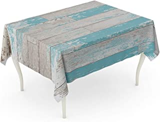 Emvency Rectangle Tablecloth 60 x 102 Inch Blue Worn Brown Turquoise and Teal Wood Boards on Wall Vintage Colored Stain Paint Old World Feel Colorful Slats Table Cloth