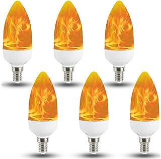 E14 E12 E26 E27 Bombillas LED Bombillas de luz de la Llama de Efecto con el Bulbo Sensor de la Gravedad de la Llama Noche Home Hotel Bar Decoración del Partido,6 Pack,E27