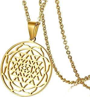Stainless Steel Hinduism Symbol Sri Yantra Chakra Amulet Talisman Pendant Necklace,Meditation Jewelry