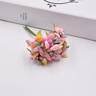 Heads Orchid 6Pcs Small Wildflowers Stamen Tea Bud Artificial Flowers For Wedding Car Home Decoration Scrapbooking Diy Craft Pink