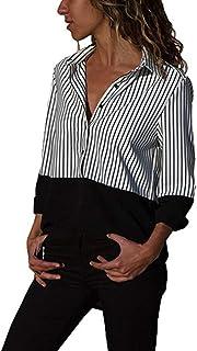 338717355e3 PAOLIAN Blusa de Mujer Manga Largas Otoño 2019 Camisetas Escote V Moda  Estampado de Rayas Señora