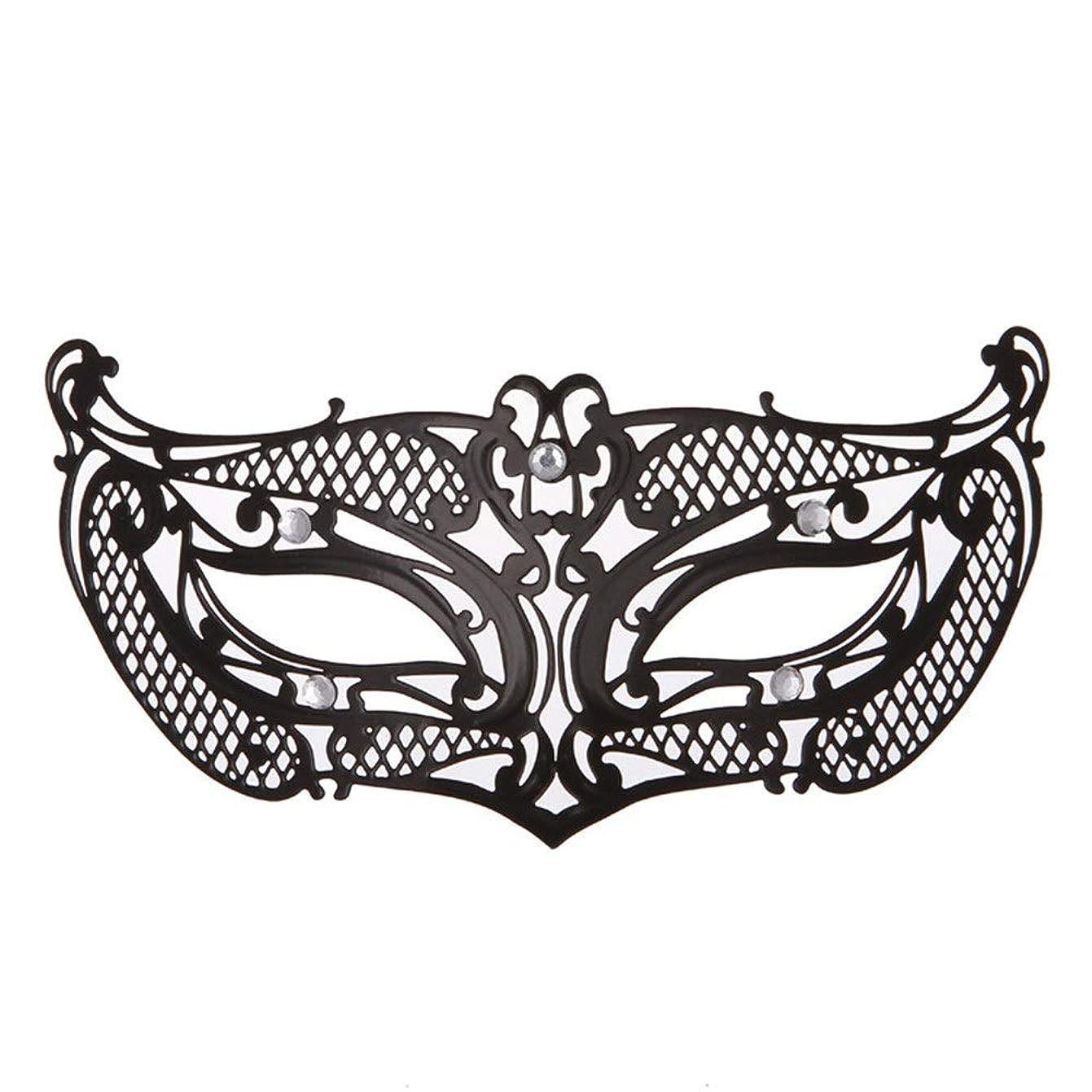 付添人アヒル下手ダンスマスク アイアンメタリックレースとダイヤモンドハーフマスクハロウィンダンスマスクナイトクラブボールマスクコスプレパーティーハロウィンマスク ホリデーパーティー用品 (色 : ブラック, サイズ : 19x8cm)
