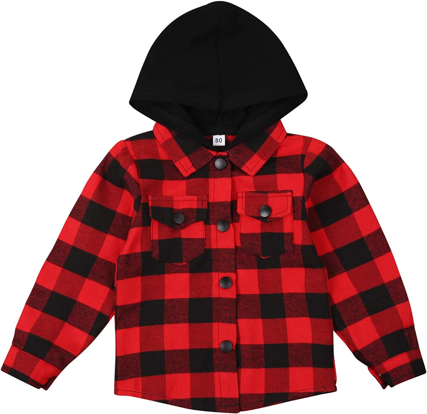 Toddler Unisex Baby Boys Girls Plaid Shirt Coat Long Sleeve Single-Breasted Hoodie with Flap Pockets
