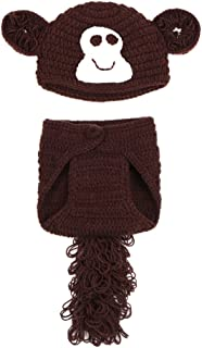 C-Princess 赤ちゃんコスプレ衣装 ベビー コスチューム きぐるみ 毛糸 鈎針編み 帽子付き 可愛いサル型デザイン 赤ちゃん写真記念服 撮影等用変身仮装 3-18ヶ月ベビーに ブラウン