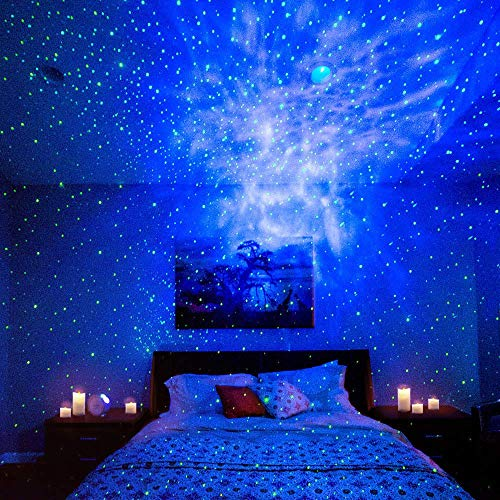 Product Image 7: BlissLights Sky Lite – Laser Star Projector w/ LED Nebula Cloud for Game Room Decor, Bedroom Night Light, or Mood Lighting Ambiance (Green, Blue)