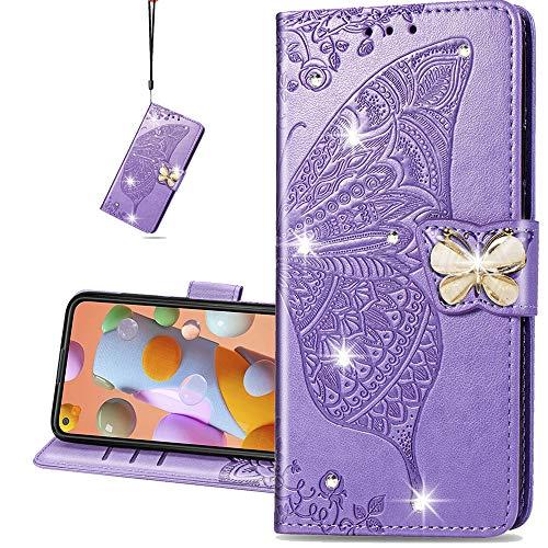 COTDINFORCA case for Samsung Galaxy M31S Hülle,Diamant Kristall Schutzhülle Magnet Handytasche Kartenfächer Lederhülle Flip Handyhüllen für Galaxy M31S Cover Diamond Butterfly Violet SD