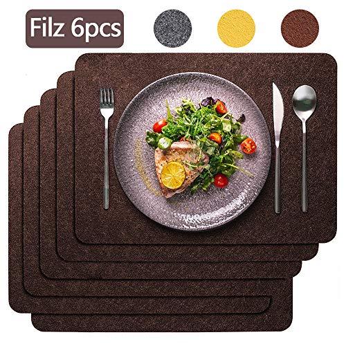 Aujelly Filz Platzset 6er Set, 45x30cm Platzdeckchen abwaschbar rutschfest Tischset für Esstisch Küchentisch- Braun Filzmatte