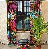 Sophia Art - Cortina de algodón con diseño de mandala, estilo indio, estilo hippie, decoración de puerta o ventana