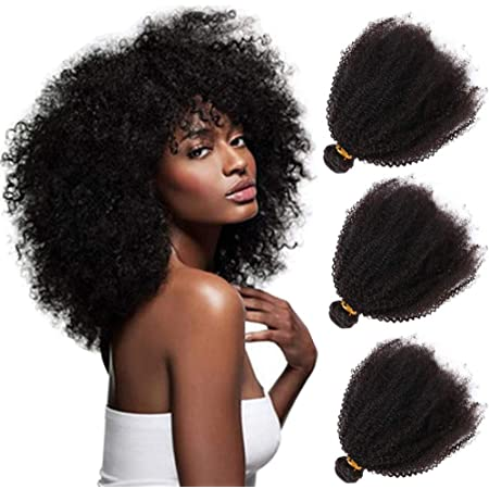 Amazon Com Mongolian Afro Kinky Curly Human Hair Bundles 4b 4c Unprocessed Remy Virgin Weave Hair Human Bundles For Black Women Afro Kinkys Bulk Coil Hair Wavy Natural Black Wefts 8 10