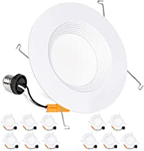 Hykolity 12 Pack 5/6 Inch LED Recessed Downlight Retrofit, 12W LED Can Light Bulb, Baffle Trim, 1000lm 5000K Daylight LED Recessed Ceiling Light, CRI90, Damp Rated, Dimmable, ETL Listed