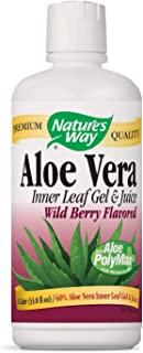 Nature's Way Premium Aloe Vera Inner Leaf Gel & Juice 99% Purified, Wild Berry Flavored, 33.8 fl oz. 2-Pack(Packaging May Vary)
