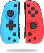 KINVOCA C25 Joycon Replacement for Nintendo Switch/Switch Lite - L/R Joy Pad - Programmable Macros, Turbo, Motion Control & Dual Shock - Wired/Wireless Switch Controller - Red and Blue