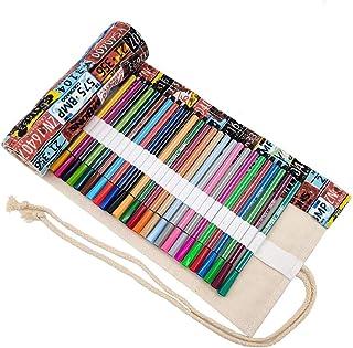 Colorato Sacchetto della matita, 72 fori, Borsa per penne, Astuccio, Roll Up Pencil Pouch, Forniture per artisti, Borsa pe...