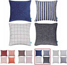Home Plus Plaid Polyester Linen Decorative Pillow Covers Striped Throw Pillows Covers Gray Navy Blue Couch Pillowcase Cushion Cover 18x18 Throw Pillow