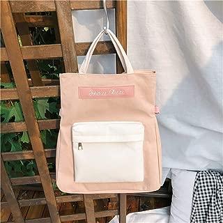 ZCLADLY School Bag Female Korean Version of Harajuku High School Student Backpack Color Matching Versatile Canvas Multi-Purpose Backpack (Color : Pink)