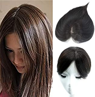 AISI BEAUTY Human Hair Toppers Clip Toupee Wiglet Hairpieces for Women with Thinning Hair Free Part Hand-made Silk Base at Middle&PU Round Clips in Top Cover