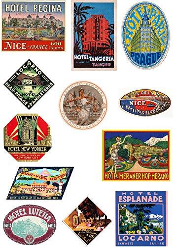 Maleta Estilo Vintage de viaje equipaje etiquetas Juego de 12 pegatinas de vinilo set 4 de 4