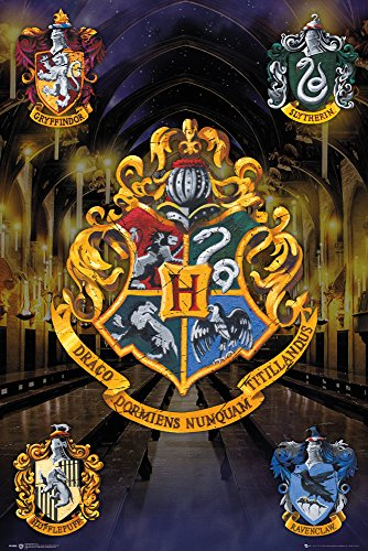 Harry Potter Maxiposter, Holz, Crests, 61 x 91,5 cm