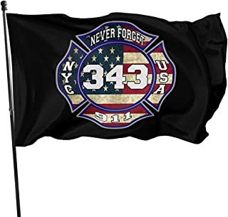 JIAQI 3x5 Feet 911 343 Fallen Firefighters Remembrance - Vivid Color and UV Fade Resistant - Garden Flags