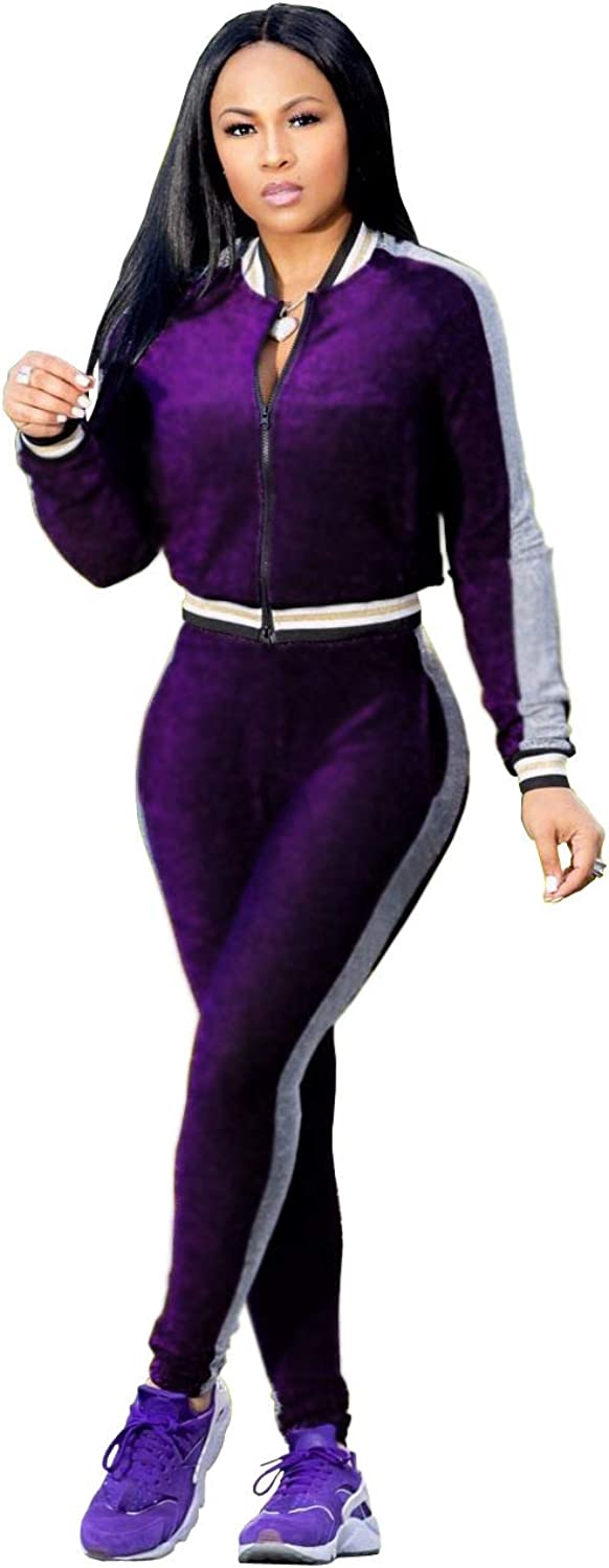 Mycherish Women Long Sleeve Causal Front Zipper Two Pieces Sports Outfit