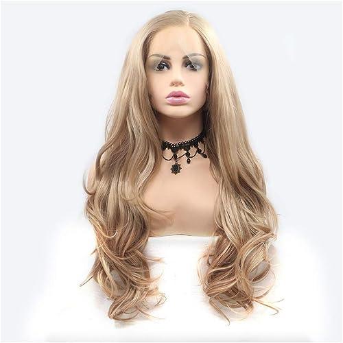 Europ che und amerikanische Damen Perücke 24 Zoll langes lockiges Haar Front Lace Perücke Set Separation Spaße TranSpaßent Geeignet für Party Rollenspiele (Farbe   D)
