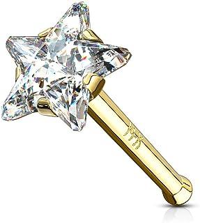 Paula & Fritz®, GDO-05, piercing per il naso, in vero oro, 14carati, con stella di zirconi