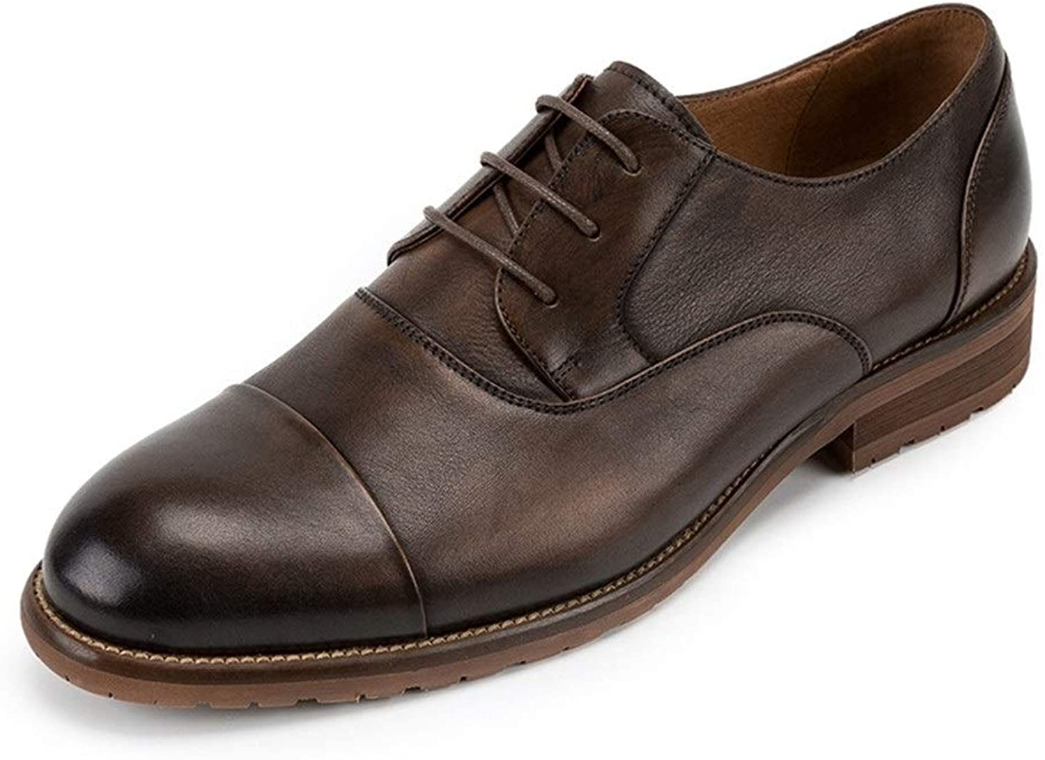 Men's England tie Low to Help Men's Leather shoes Handmade Summer Toe Cap Leather Casual shoes (color   Coffee, Size   8.5UK)