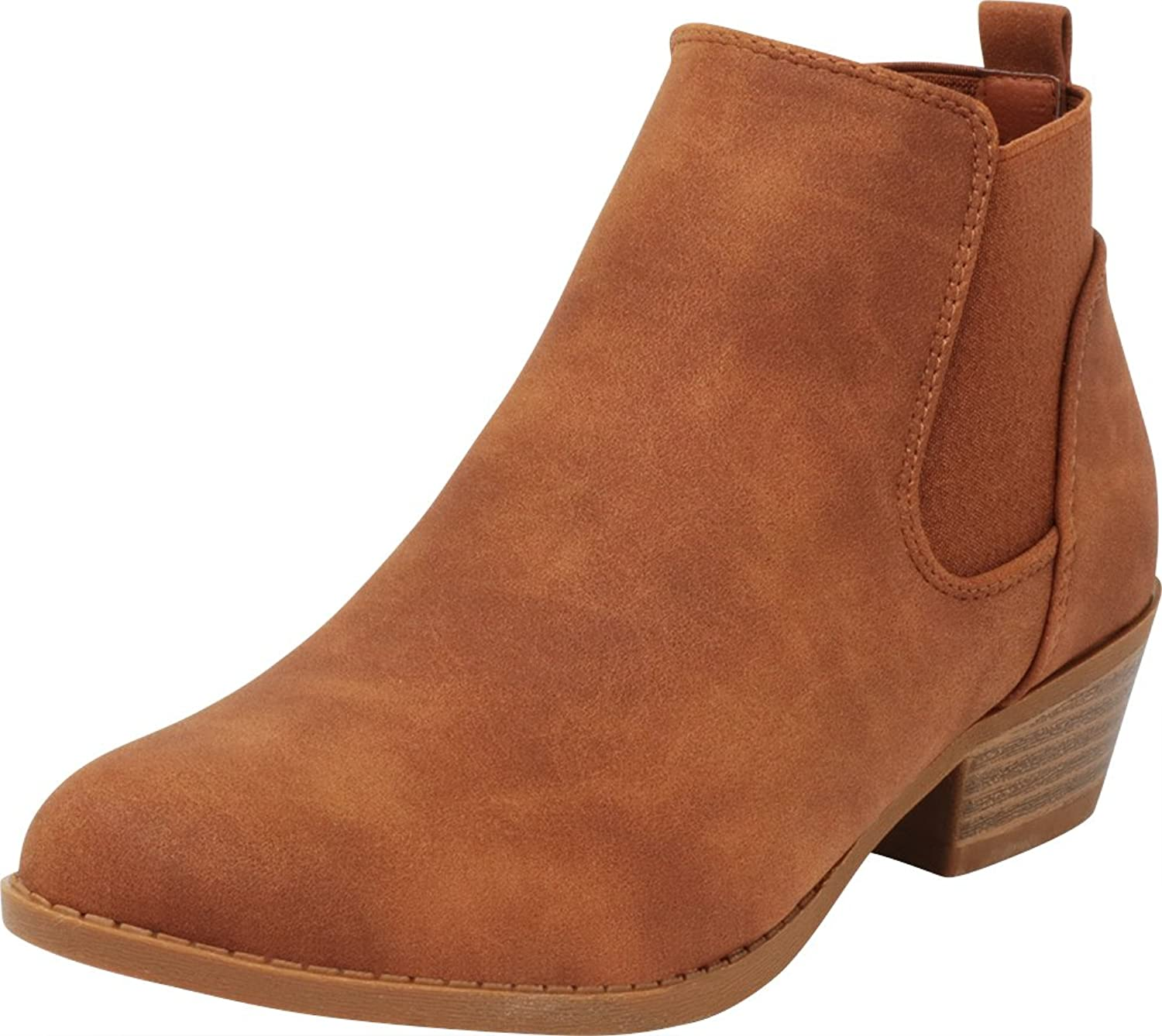 Cambridge Select Women's Closed Round Toe Chelsea Stretch Slip-On Chunky Stacked Low Heel Ankle Bootie