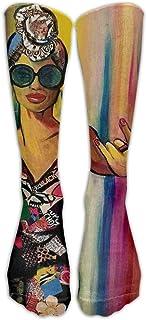 パーフェクトギフト - アフリカ系アメリカ人黒人女性の絵画アートプリントストッキング通気性トレッキングソックスロングチューブソックス用女性