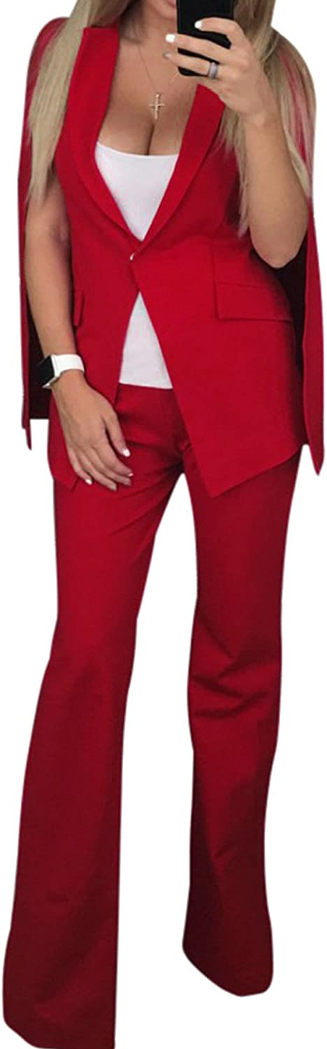 IyMoo 2 Piece Outfits Women Shawl Sleeve One Button Blazer Flare Pants Casual Elegant Business Suit Sets