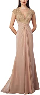 JONLYC Cap Sleeve Embroidered Beaded Mother of The Bride Dress Long Formal Evening Gown