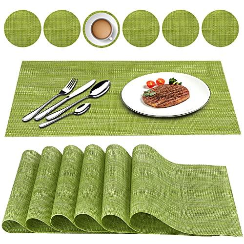 Oiwewly Sets de Table et Rond Coaster en PVC 12 Pcs, Antidérapant Lavable Chaleur Résiste, Vert
