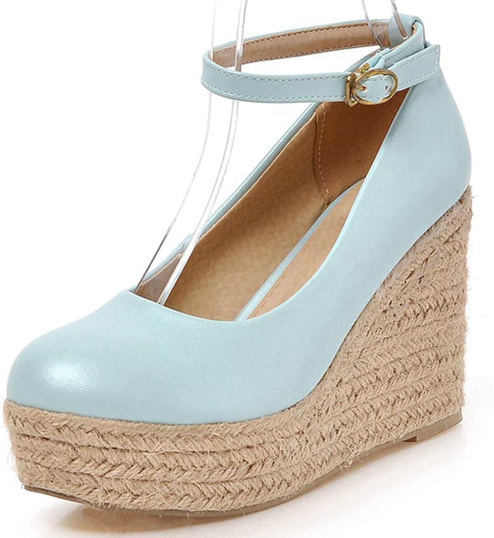 Vimisaoi Women's Wedge Pump Platform Mary Jane shoes Round Toe Slip on Party Dress High Heel