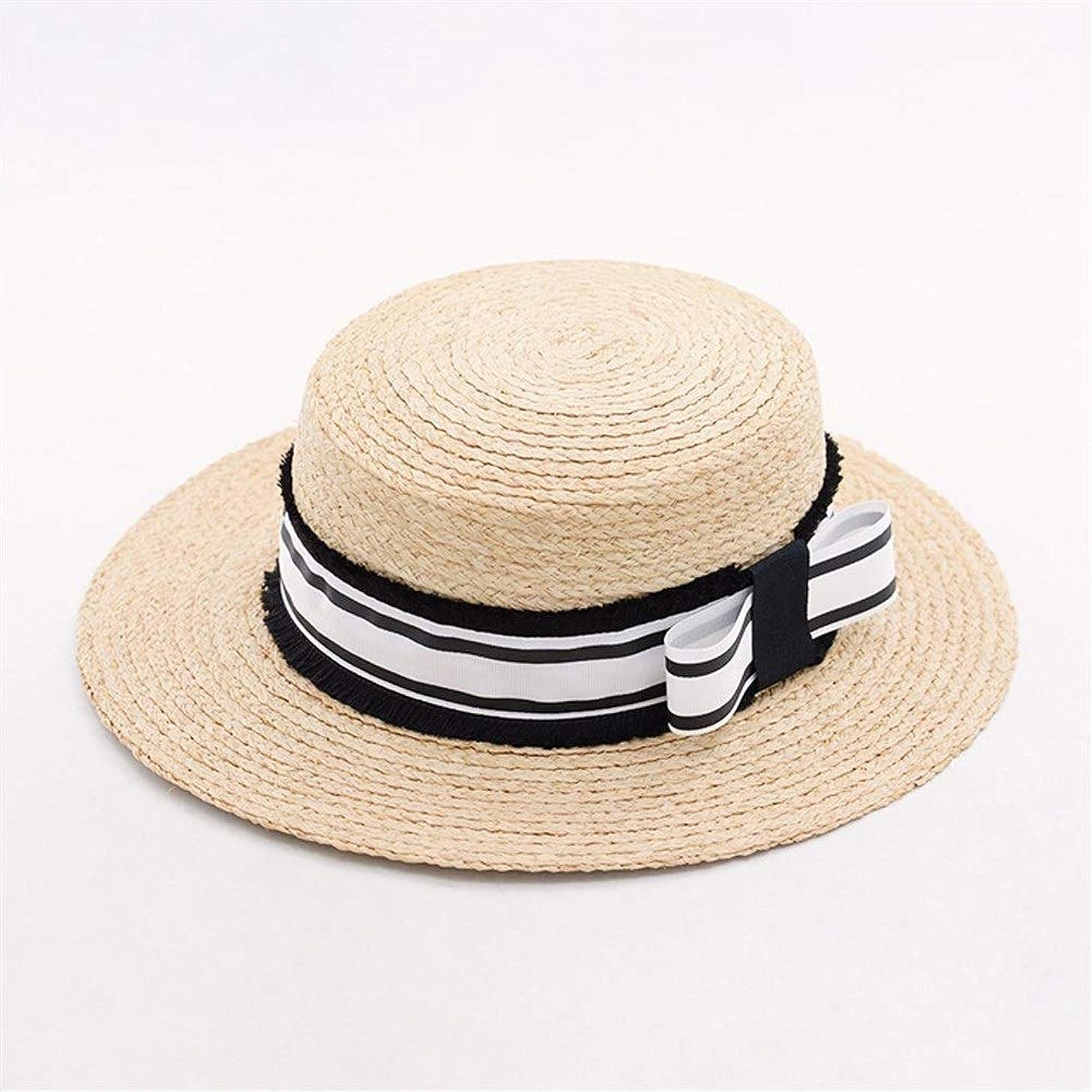 春と夏のラフィットカラーマッチング弓ビッグエッジ麦わら帽子屋外旅行日焼け止めビーチ麦わら帽子