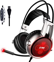 SOMIC E95X Realistic 5.2 Surround Sound USB Gaming Headset Lightweight Over Ear Headphone with Mic,Volume Control,LED(Black)
