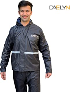 Daelyn Waterproof Reversible Raincoat Jacket and Pant Set for Men Along with Reflective Safety Strip & Emergency rain Shoe Covers (Black)