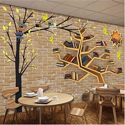 Lovemq Papel Tapiz 3D Mural No Tejido Moderno De Dibujos Animados De Moda Gran Árbol Estantería Fondo De La Pared De Ladrillo 3D Decoración De La Habitación Papel De Pared-190X150Cm