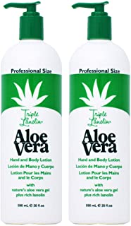 Triple Lanolin Aloe 20 Ounce Hand & Body Lotion Pump (591ml) (2 Pack)