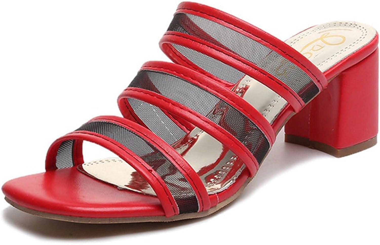 GIY Women's Strap Block Heel Slide Sandals Open Toe Lace Slip On Chunky Heel Sandal